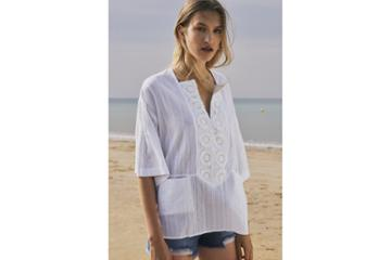 French Connection Oni Cotton Embroidered Blouse