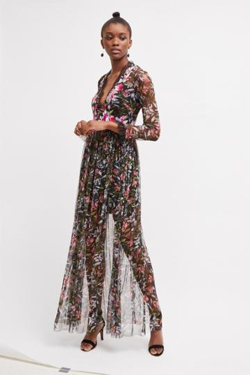 French Connenction Flori Embroidered Floral Maxi Dress