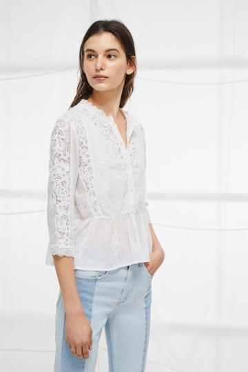 French Connection Alimos Broderie Lace Top