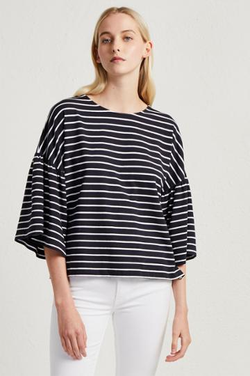 French Connection Tim Tim Stripe Bell Sleeve Top