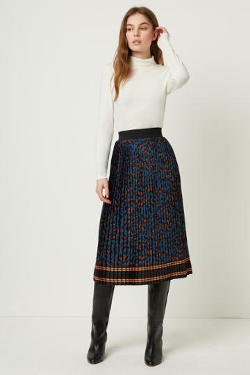French Connenction Pleated Midi Leopard Print Skirt
