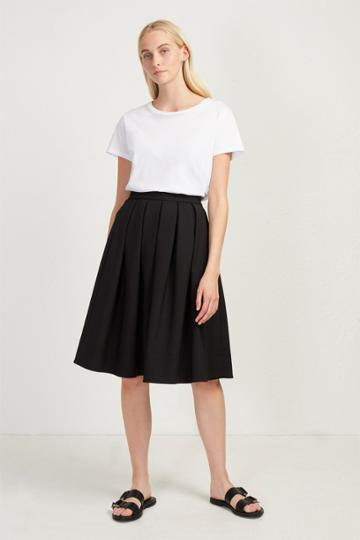 French Connenction Glass Stretch Pleated Midi Skirt
