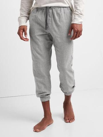 Gap Men Stripe Indigo Double Face Joggers - Gray Stripe