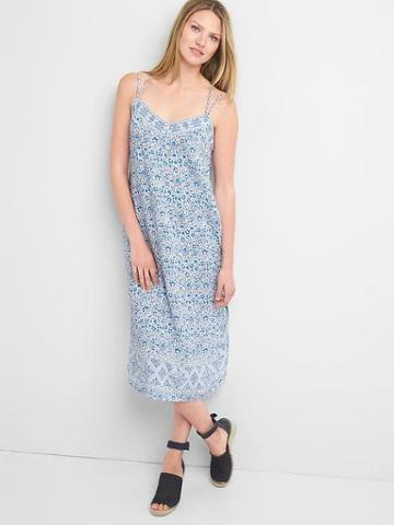 Gap Women Double Strap Cami Dress - Blue Floral
