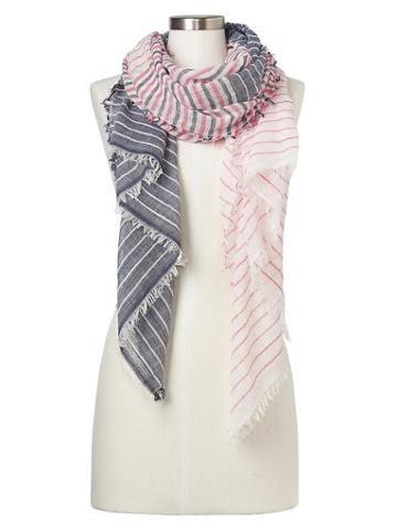 Gap Women Mix Stripe Fringe Scarf - Red Stripe