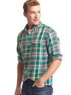 Gap Men Plaid Utility Shirt - Green Plaid