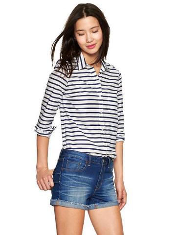 Gap Fitted Boyfriend Stripe Shirt - Blue Stripe
