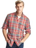 Gap Men Plaid Utility Shirt - Red Plaid