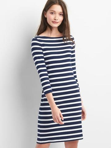 Gap Women Stripe Modern Tee Boatneck Dress - Navy Stripe