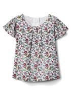 Gap Floral Shirred Flutter Shirt - Multi Floral