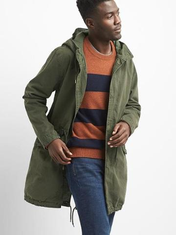 Gap Men Canvas Fishtail Parka - Black Moss