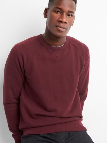 Gap Men Raglan Fleece Crewneck - Pinot Noir