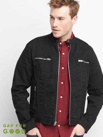 Gap Men Denim Moto Jacket - Washed Black