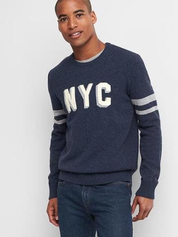 Gap Men Wool Nyc Crewneck - Navy Marl