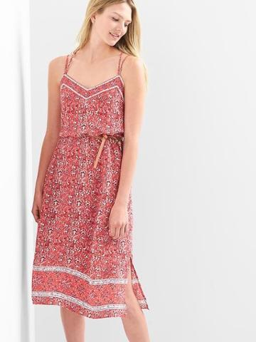 Gap Women Double Strap Cami Dress - Red Floral Print