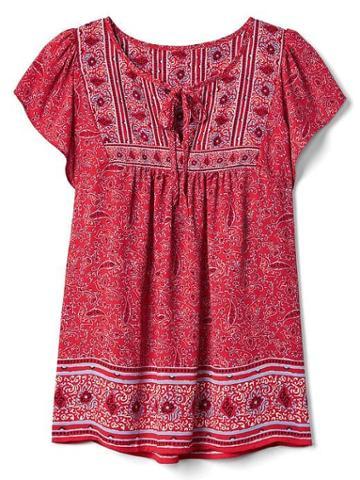 Gap Women Print Tie Blouse - Red Print