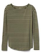 Gap Long Sleeve Stripe Tee - Green Stripe