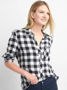Gap Women Drapey Flannel Shirt - Black Plaid