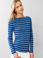 Gap Modern Stripe Boatneck Tee - Blue Stripe