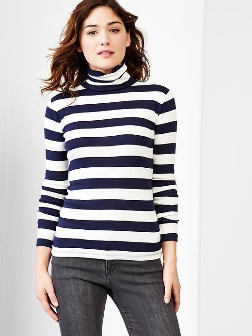 Gap Women Supersoft Stripe Turtleneck Tee - Navy Stripe