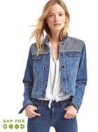 Gap Women Washwell Railroad Stripe Short Denim Jacket - Dark Indigo