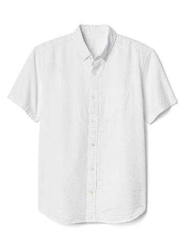Gap Women Seersucker Short Sleeve Shirt - White