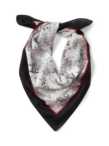 Gap Women Nyc Silk Square Scarf - Cityscape Print