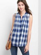 Gap Women Pintuck Plaid Sleeveless Shirt - Blue Plaid