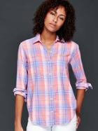 Gap Women Cotton Plaid Boyfriend Shirt - Pink Plaid