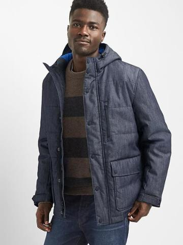 Gap Men Quilted Denim Parka - Rinse Washed Indigo