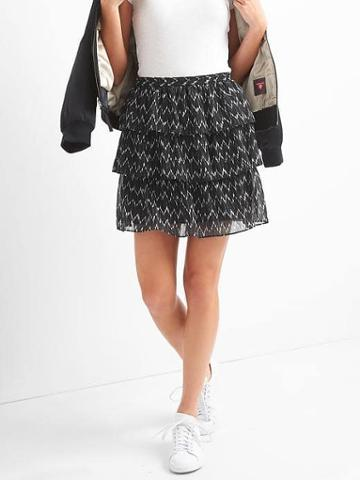 Gap Women Tiered Ruffle Skirt - Black Print