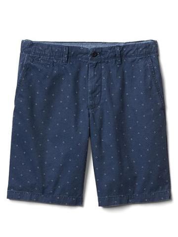 Gap Women Print Casual Shorts 10 - Navy Micro Dot