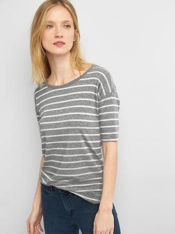 Gap Stripe Short Drop Sleeve Tee - Light Grey Stripe
