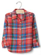 Gap Plaid Twill Shirt - Fire Coral