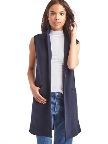 Gap Women Wool Blazer Vest - Dark Night
