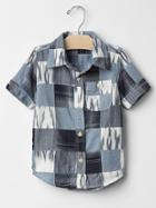 Gap Ikat Patchwork Shirt - Blue Galaxy