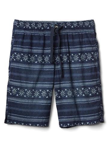 Gap Women Denim Batik Print Shorts 9 - Indigo Print