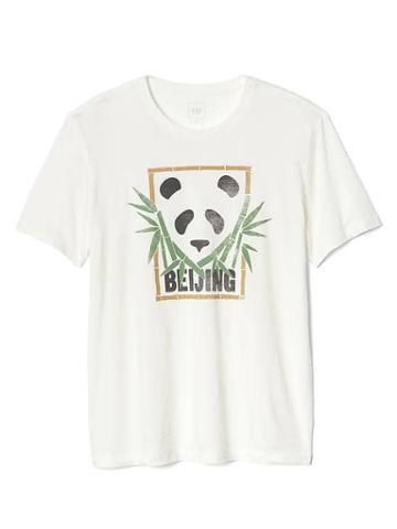 Gap Women Panda Graphic Tee - New Off White