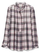 Gap Women Plaid Pintuck Long Sleeve Shirt - Blue Plaid