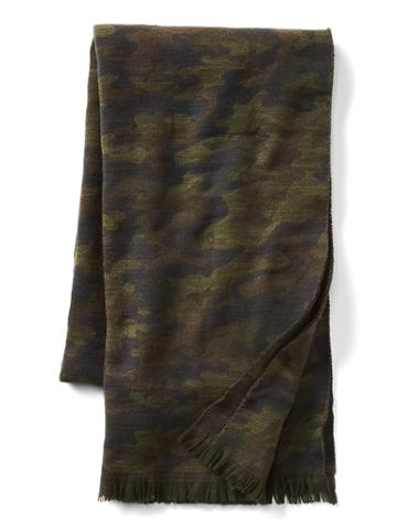 Gap Men Cozy Print Scarf - Green Camo
