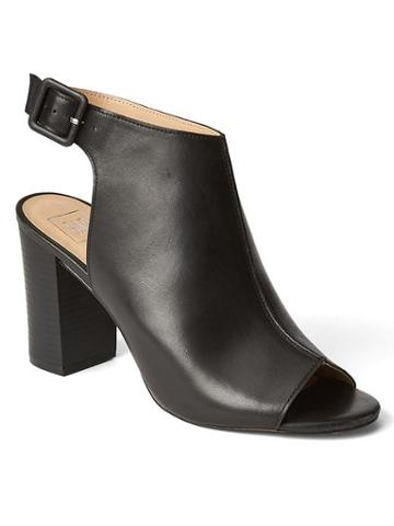 Gap Women Leather Open Toe Bootie - Black Leather