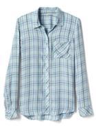 Gap Women Plaid Drapey Shirt - Blue Plaid