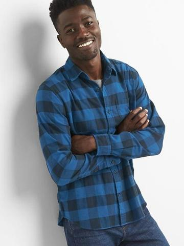 Gap Men Lightweight Flannel Standard Fit Shirt - True Navy