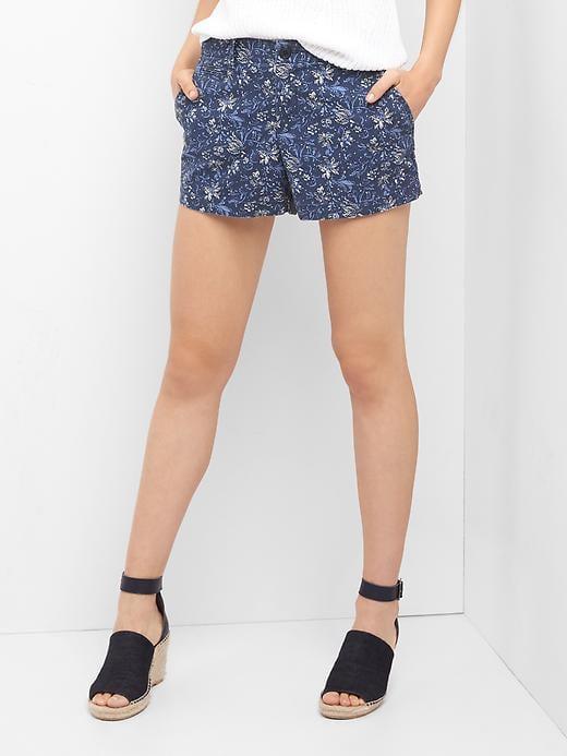 Gap Print Twill Shorts - Blue Floral Print