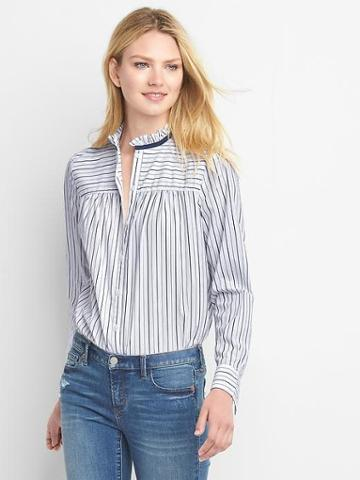 Gap Poplin Mix Stripe Ruffle Shirt - Navy White Stripe