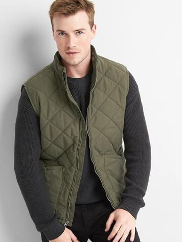Gap Men Quilted Layer Vest - Black Moss