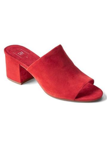 Gap Women Open Toe Suede Mules - Red