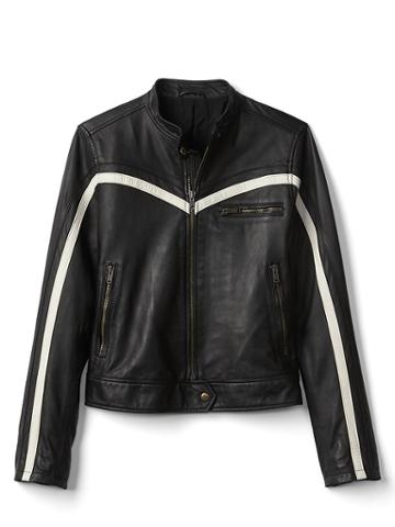 Gap Women Leather Biker Jacket - Black