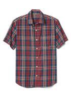 Gap Men Madras Plaid Short Sleeve Shirt - Navy/red Plaid