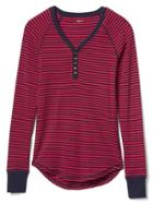 Gap Women Rib Knit Stripe Henley - Navy Red Stripe